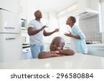 couple having an argument in... | Shutterstock . vector #296580884