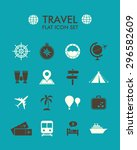 vector flat icon set   travel  | Shutterstock .eps vector #296582609