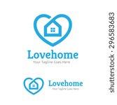 Stock vector love home vector logo template 296583683