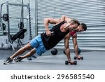 muscular men doing a side plank ... | Shutterstock . vector #296585540