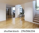 bright modern corridor with... | Shutterstock . vector #296586206