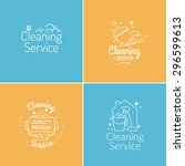 set. cleaning service. label... | Shutterstock .eps vector #296599613