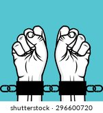arrested man hand and hand cuffs | Shutterstock .eps vector #296600720