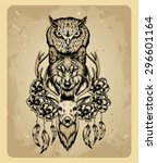 owl  wolf and deer in the style ... | Shutterstock .eps vector #296601164