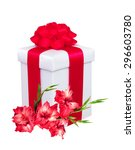 Present Box With Red Bow And...