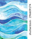 watercolor wave background.... | Shutterstock .eps vector #296609174