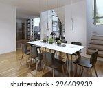 idea of modern dining. 3d render | Shutterstock . vector #296609939