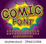 Creative detail comic font. Alphabet in style of comics, pop art. Multilayer funny colorful 3d letters and figures for kids' illustrations, websites, comics, banners. Purple cartoon comic, explosion