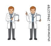 cartoon doctor holding a chart... | Shutterstock .eps vector #296612789