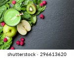 green smoothie with fruits and... | Shutterstock . vector #296613620