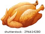 whole roasted or bbq chicken... | Shutterstock .eps vector #296614280