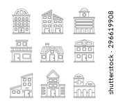 buildings icons | Shutterstock .eps vector #296619908