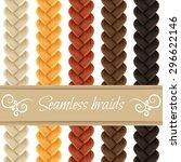 set of seamless hair braid ... | Shutterstock .eps vector #296622146
