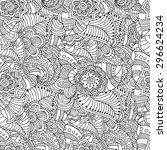 seamless  floral doodle... | Shutterstock .eps vector #296624234