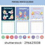 cute calendar template for 2016.... | Shutterstock .eps vector #296625038
