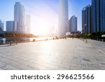 modern skyline and empty road... | Shutterstock . vector #296625566