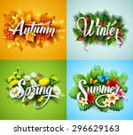 four seasons  typographic... | Shutterstock .eps vector #296629163