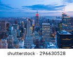 aerial night view of manhattan... | Shutterstock . vector #296630528