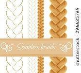 set of seamless hair braid ... | Shutterstock .eps vector #296635769