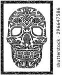 Hand Drawn Vector Native Skull...