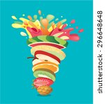 fruits stack mixed juice splash ... | Shutterstock .eps vector #296648648