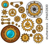 Set Of Steampunk Gears  Screws...
