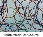 colorful hula hoops in the air | Shutterstock . vector #296656898