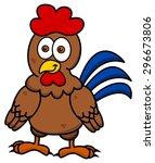 hen standing smiling | Shutterstock .eps vector #296673806