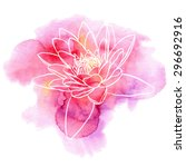 Water Lily Flower On A Red And...