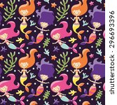 marine seamless pattern with... | Shutterstock .eps vector #296693396
