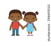 two cute cartoon african... | Shutterstock .eps vector #296693510