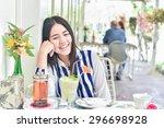 beautiful woman enjoy healthy... | Shutterstock . vector #296698928