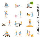 set of vector images of couples ... | Shutterstock .eps vector #296704358