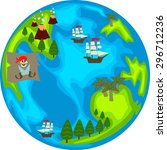 pirate planet with islands and... | Shutterstock .eps vector #296712236