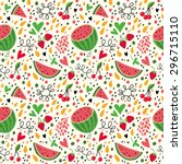 bright pattern with watermelon  ... | Shutterstock .eps vector #296715110