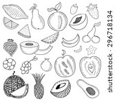 hand drawn fruits set of... | Shutterstock .eps vector #296718134