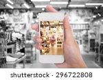 women in shopping mall using... | Shutterstock . vector #296722808