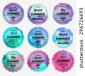 summer offer stickers with... | Shutterstock .eps vector #296726693