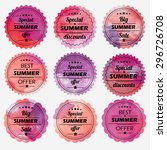 summer offer stickers with... | Shutterstock .eps vector #296726708