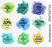 summer offer stickers with... | Shutterstock .eps vector #296726714