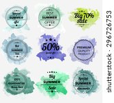 summer offer stickers with... | Shutterstock .eps vector #296726753