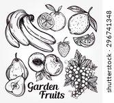 various fruits set vintage... | Shutterstock .eps vector #296741348