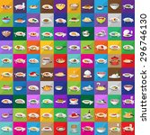 3d flat food icons set  vector... | Shutterstock .eps vector #296746130