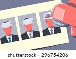 hr lottery. hand using coin is... | Shutterstock .eps vector #296754206