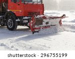 Snow Plow Cleaning Snow From...
