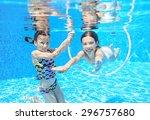 Happy Children Swim In Pool...