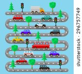 highway with vehicles. flat... | Shutterstock .eps vector #296757749