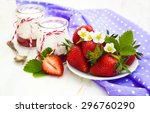 strawberry yogurt with fresh... | Shutterstock . vector #296760290