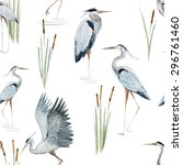 watercolor pattern with birds... | Shutterstock . vector #296761460