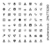 set of black flat icons with... | Shutterstock .eps vector #296773280